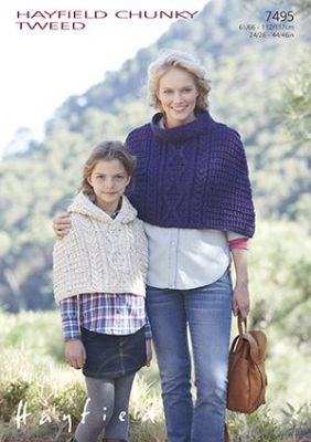 Hayfield Chunky Tweed Knitting Pattern - 7495 Capes